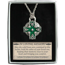 Memorial Locket Necklace Celtic Cross NEW Ash Urn Inside In Loving Memory Ashes
