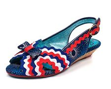 Poetic Licence NEW Ruthie Ruffle navy red white blue stripe wedge sandals sz 3-9