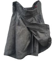 Fat Face Tulip Wrap Skirt Size 8 Grey Brown Tweed Like Heavy Cotton Weave