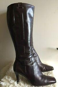 NINE WEST Deep Plum Aubergine Purple NEOLA Leather Knee High Boots UK 7 USA 9W