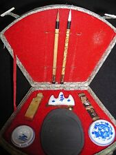 ORIENTAL JAPANESE ASIAN ART WRITING KIT Paint Brushes Signature Stamp Vtg Crafts
