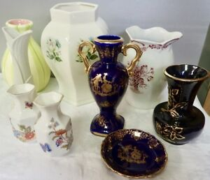 lot of vintage smaller porcelain and ceramic vases & dish Limoges Counterpoint