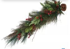 Bethlehem Lights Prelit Pinecone and Berry Teardrop Swag with Timer - Multicolor