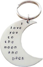 back Key Chain personalized Hand Stamped - I love you to the moon and
