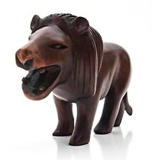 More details for beautifully carved animated wooden roaring lion, treen, africa, ornament, vgc