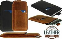 SLIM PULL-UP POUCH WITH CARD POCKET MADE OF GENUINE LEATHER CASE FOR IPHONE