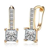 Women 18K Gold Plated Square Zircon Crystal Buckle Hoop Huggie Earrings Jewelry