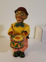 Vintage Wind Up Tin Drummer Circus Clown Antique With Working Drum Toy