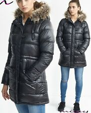 Womens Ladies Long Winter Coat Padded Quilted Puffa Jacket Fur Hooded Size SHINE