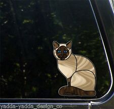 "CLR:CAR Siamese Charming Cat - Stained Glass Vinyl Car Decal ©YYDC (5.5""w x 7""h)"