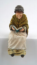 Grandmother Sitting Figurine, Dolls House Miniatures, Reading Statue.