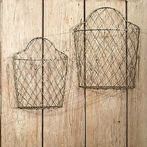 2 Wire Wall Baskets in distressed metal