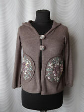 🔻 Anthropologie Sleeping on Snow Brown  Cardigan Size XS Embroidered Hooded