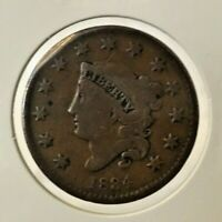 1834 1C Coronet Head Large Cent Small 8 Medium Letters Variety