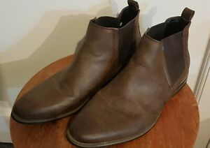 River Island Mens Brown Leather Chelsea Boots Size 11 UK Smart Formal Shoes