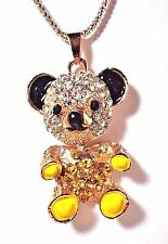 BETSEY JOHNSON HAPPY CRYSTAL TEDDY BEAR MOVABLE PENDANT GOLD TONE