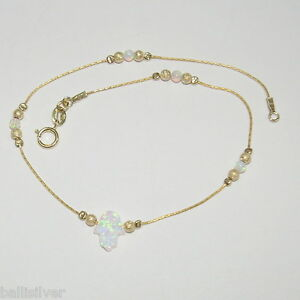 14kt Gold Filled Chain and Beads, White Opal HAMSA Hand and Beads ANKLET