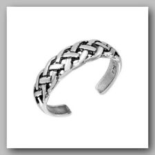 Braided Toe Ring .925 Sterling Silver Mens