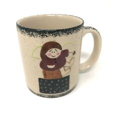 ABC Distributing Ceramic Creme Angel Coffee Mug  Black Speckles Border Vintage