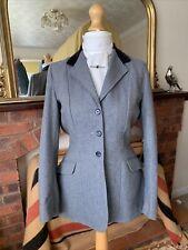Ladies Caldene Blue Herringbone Tweed/Navy Velvet Show/Hacking Jacket Size 36/12