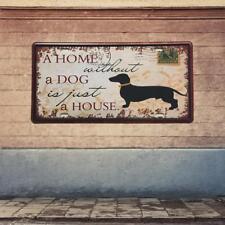 Retro Metal Car Plate Tin Sign Plaque HOME DOG Picture Bar Pub Man Cave
