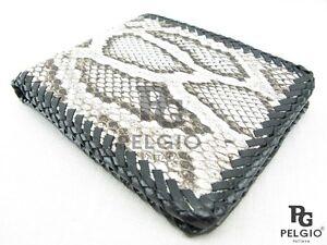 PELGIO Real Genuine Natural Python Snake Skin Leather Men Bifold Wallet Handmade
