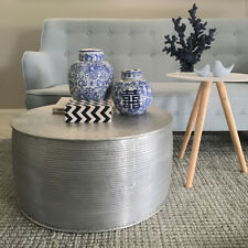 Handmade Round Drum Coffee Table/Aluminium Metal Coastal Modern Industrial Luxe