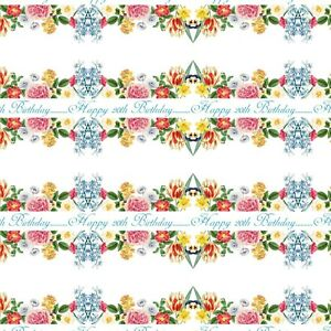 PERSONALISED SPRING FLOWERS NAME HAPPY BIRTHDAY GIFT WRAPPING PAPER ADULT WOMEN