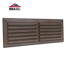 "9"" x 3"" Brown Plastic Louvre Air Vent Grille with Removable Flyscreen Cover"