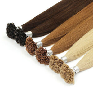 """16"""" 18"""" 20"""" 22"""" 26"""" 100S Pre Bonded Glue Nail/U Tip Remy Human Hair Extensions"""