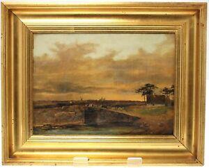 ANTIQUE 19th CENTURY DANISH OIL ON CANVAS PAINTING-ORIGINAL HANDMADE FRAME