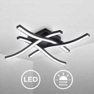 LED Design Deckenlampe Wohnzimmer Deckenleuchte modern Wellenoptik schwarz 20W