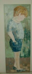 ORIGINAL PAINTING BY FLORIDA ARTIST EDITH FERULLO 1928-2008 -  SHY LITTLE BOY