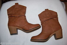 "Womens Mid-Calf Boots BROWN FAUX LEATHER 2.5"" High Heel DRESS Western SIZE 7"