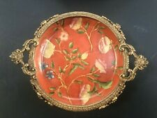 """Decorative Porcelain 5"""" round jewelry/soap/candle dish with brass detail"""
