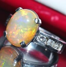 14k white gold ring 4.40ct fiery orange opal diamond sz 5 vintage handmade 6.2gr