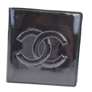 Auth Chanel Unisex Patent Leather Wallet (bi-fold) Black 07FB483