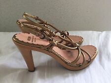 Moschino Cheap And Chic Gold Knot Front Sandal Heels 36 Italy