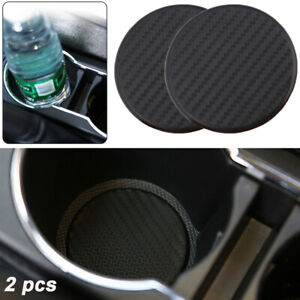 2X Car Vehicle Water Cups Slot Non-Slip Carbon Fiber Look Mat Pad Accessories