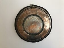 """Copper Washed Metal 13"""" Round Bowl Container Wall Hanging Decorative Display"""