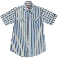 RM Williams Men's Longhorn Metal Snap Short Sleeve Shirt Blue Stripe Size S Slim