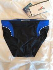 New Boys Speedo NWT Swim Swimsuit Race Tri Axcel Splice Brief 24 Black/Blue $35