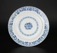 Large Plate Porcelain Embossed 18th Century China Qing Dynasty