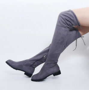 Sexy Women Winter Over Knee High Boots Ladies Stretch Warm Flat Shoes Drawstring