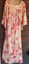 Vintage David Brown California Lounge Dress MuuMuu Red Ivory Floral Caftan Tags