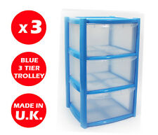 3 X 3 DRAWER PLASTIC STORAGE DRAWER - CHEST UNIT - TOWER - WHEELS - TOYS - BLUE