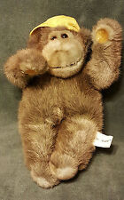 "Brown Monkey 1985 Vtg Lush Plush 12"" Commonwealth Stuffed Yellow Cap Suction Cup"