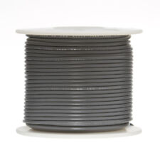 "18 AWG Gauge Stranded Hook Up Wire Gray 250 ft 0.0403"" PTFE 600 Volts"