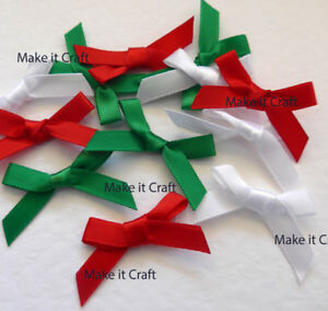 Red, White and Green for Christmas 6mm Satin Bows