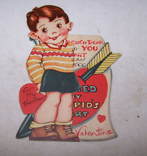 Vintage Antique For My Teacher Valentine Heart Pirced by Cupid's Dart